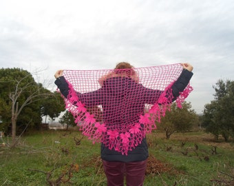 free worldwide shipping, handmade mohair triangle crochet shawl,cowl,neckwarmer with pink flowers