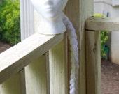 Princess Crown With White Hair / Crochet Headband / Frozen Snowflakes