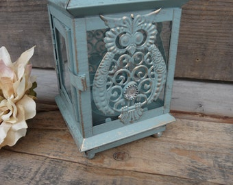 Distressed Beach Blue with Gold Accents ~ Owl decor Metal Lantern ~Tea-Light tealight Candle Holder ~ Wedding Centerpiece rustic Decor