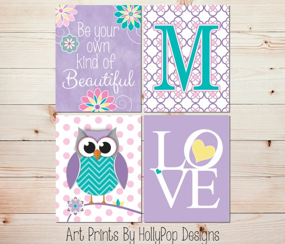 Girls Room Wall Decor nursery wall art girls room decor girl owl art girl nursery