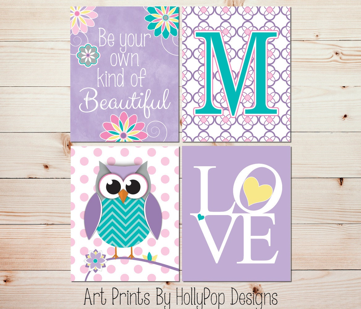 Nursery wall art Girls room decor Girl owl art Girl nursery decor Kids decor  Purple turquoise. Purple And Turquoise Bedroom