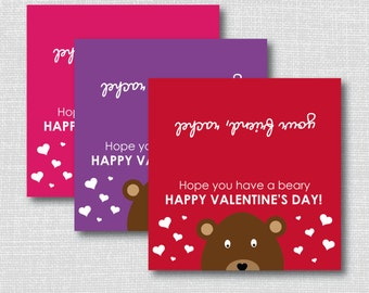 Teddy Bear Valentine Treat Bag Toppers - Personalized - Valentine's Day Party - Digital Design