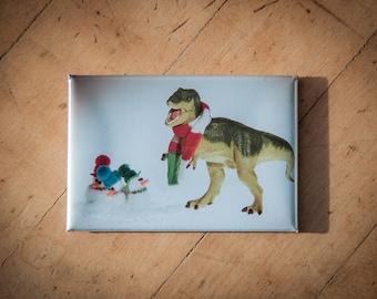 Christmas Gift Under 5: T-Rex Caroling with Snowmen Fridge Magnet