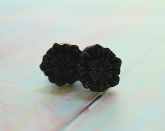 4g 2g 0g Black Flower Plugs Custom Size 4 2 0 Gauges for Stretched Ears Body Jewelry