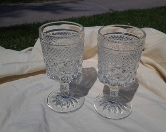 On Sale Anchor Hocking Set of 2 Diamond Design Wine Goblets Clear Glass