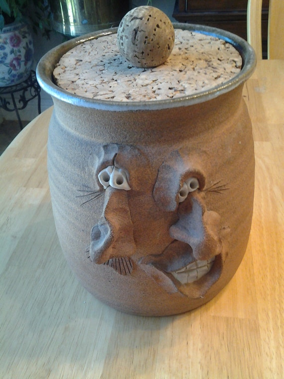 Very Rare Ugly Funny Face Pottery Cookie Jar With Cork Lid