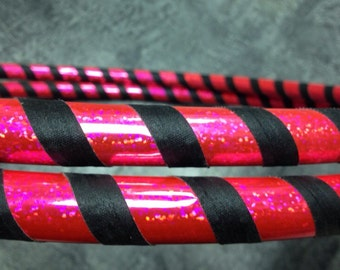 Black & Hot Pink Sparkly Taped Mini Arm Hula Hoops