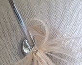 Ivory cream ostrich feather Guest Book registry silver pen bridal wedding weighted