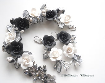 The decoration of polymer clay Black and white classic