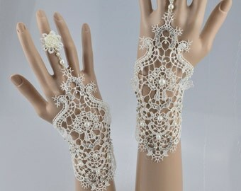 Swarovski Crystal Lace Crochet Vintage Short Ivory White Bridal Fingerless Gloves with Tie Chain