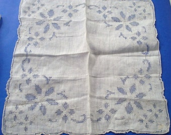 High Quality Handkerchief Drawnthread Work Vintage Hankie