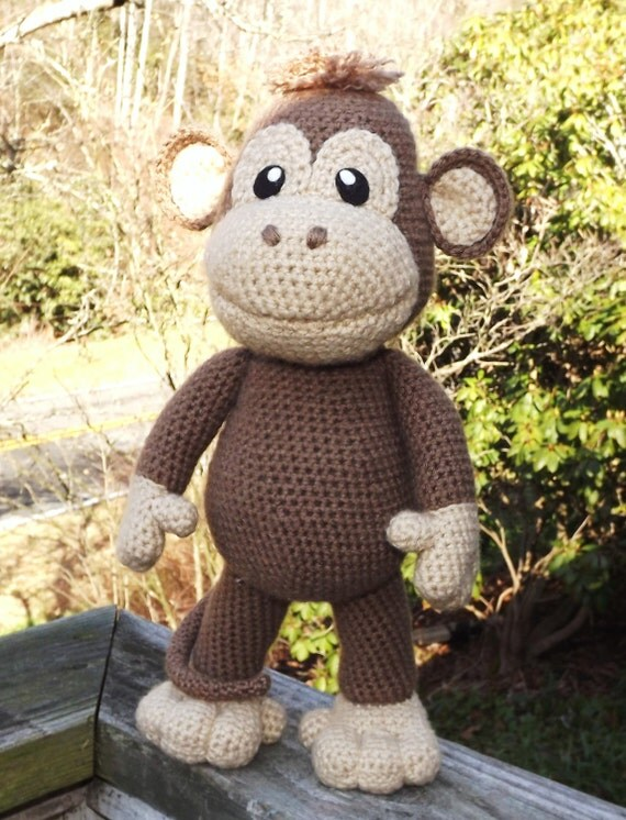 Large Baby Monkey Amigurumi Pattern with Bonus Santa Hat