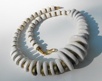 Vintage white necklace, a bold Art necklace 1970s in ceramic and brass FREE USA SHIPPING