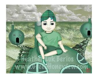 Green Honeydew Boy - Limited Edition Fine Art Digital Painting Print - Fantasy, Whimsical, Green, Lime, 8x10