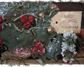 Holly jolly winter primitive decor set of 2 hollies w berries