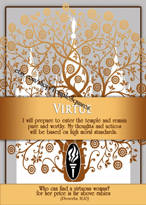 """Printable - 3 sizes! LDS Young Women Personal Progress Values """"Virtue"""" Art 2014 Instant Download Digital Files"""