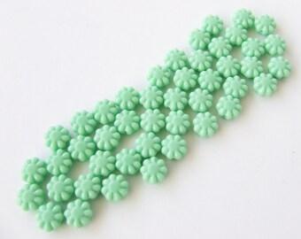 Mint Flower Czech Glass Beads - Opaque Pale Mint Green Beads - 9mm - 12pcs
