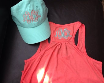 Coral tank and  hat with monogram