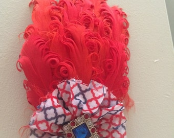 4th of July feather pad headband