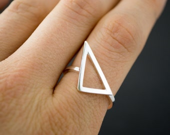 Argentium Silver Geometric Triangle Ring // Size 7.5