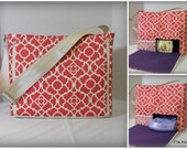 Coral Lovely Lattice with purple lining Ella Breast Pump Bag
