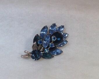 Light Blue Dark Blue and Ab Vintage Brooch