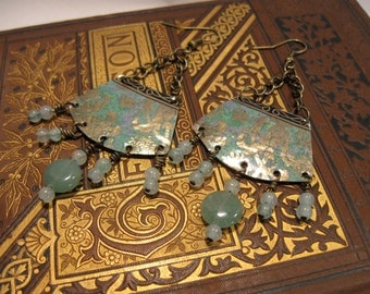 Recycled Vintage Tin Earrings with Jade and Brass **FREE SHIPPING**