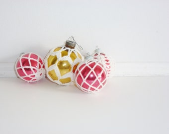 Vintage Crocheted Glass Ornaments