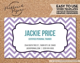 Business Card Template - Lavender Chevron & Frame -  DIY Editable Word Template, Instant Download, Printable