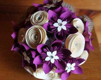 Magenta and Cream Origami Bouquet (Medium-Small)