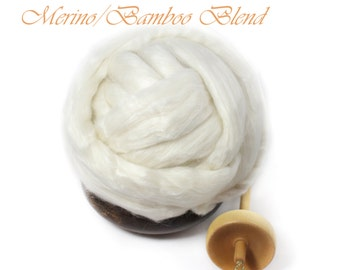 Merino wool Bamboo Blend Luxury Fiber Spinning Undyed Ecru Top Roving - 8 oz