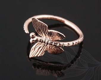 C1151-10pcs-Pink Gold Plated-Ring-Butterfly