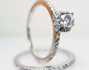 SALE  Solitaire Halo Diamond Engagement Ring & Wedding Band in 14k White Gold- Size 6 - (Complete Bridal Wedding Set)
