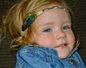 Boho Style Peacock Feather Headband for Babies, Children, Little Girls, Teens and Women!