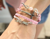 5 Strand Baby Pink and Pearl Infinity, Love / Heart, Cross Bracelet - 4 Strand Leather Braided Wrapped Cross Bracelet