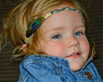 Boho Style Peacock Feather Headband for Babies, Children, Little Girls, Teens and Women!