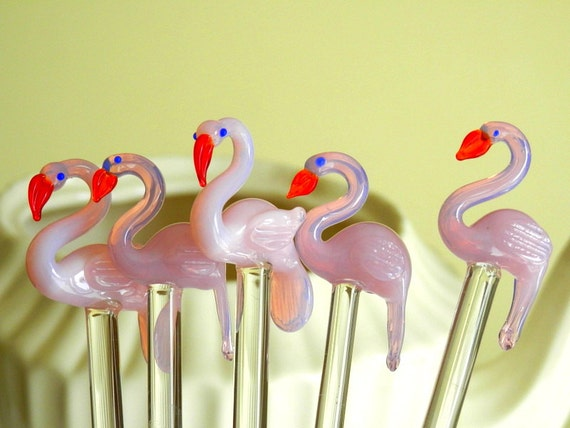 Glass Swizzle Stick, Barware Swizzle Stick, Pink Flamingo Decor, Retro Barware