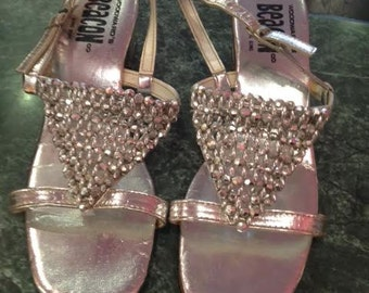 Vintage Mod Silver Beaded Shoes