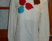 Peorla Vintage Blouse Top Shirt w/ Leaves Collar Light Summer L Womens sz 10