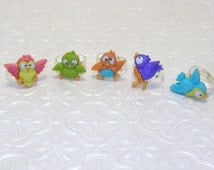 Big Eyed Bird Rings,Colorful Bird Rings,Owl, Parrot, Humming Bird Rings, Childrens Rings, Kids Rings, Childrens / Kids Jewelry, Party Favors