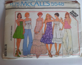 Vintage 1977 McCall's Carefree Patterns Sewing Pattern 5548 Misses' Dress or Top in Size Medium