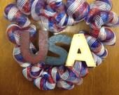 I love America deco mesh wreath