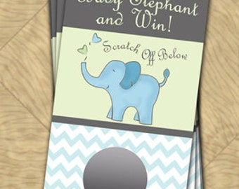 BLUE OR PINK Baby Shower Scratch Off Cards - Elephant Themed - 10 Cards