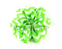 """Lime Green Chevron - Set of 3 Large 3.5"""" Unfinished Ballerina Flowers - LBF-029"""