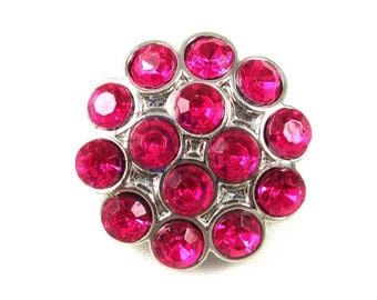 Hot Pink - Set of 3 Acrylic 25mm Rhinestone Cluster Buttons - AB-129