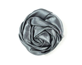 """Gray - Set of 3 Large 3"""" Rolled Satin Flowers - RSF-024"""