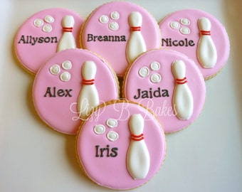 12 Personalized Bowling Cookies