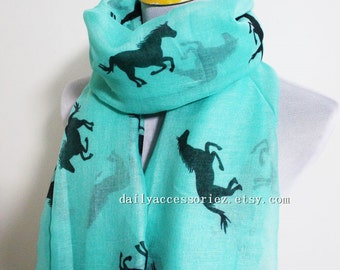 Aqua Green Horse Scarf Running Horse Loop Scarf Brown Horse Scarf Fall Scarf Winter Soft and Chunky Scarf Large Scarf