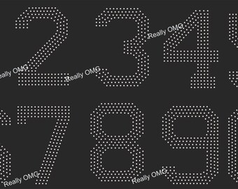 Your Choice of ONE Number From 0 - 9 Rhinestone Decal