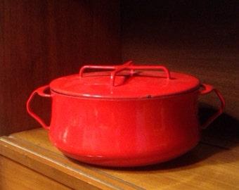 Mid Century Modern Quistgaard for Dansk Kobenstyle Red Enamel Cast Iron Lidded Stock Pot 3 Qt
